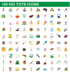 100 kid toys set cartoon style vector image