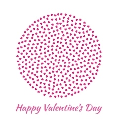 Circle pink Hearts Valentines Day card Background vector image vector image