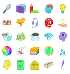 income icons set cartoon style vector image vector image