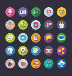 network and communications coloured icons vector image vector image