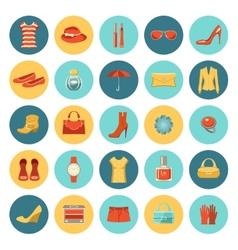 Set of flat design fashion icons vector image