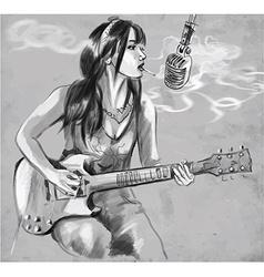 Smoking Guitar player An hand drawn vector image vector image