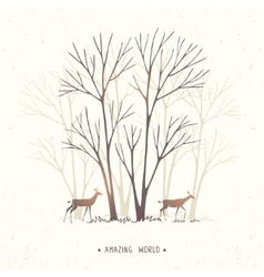 trees and two deer vector image vector image