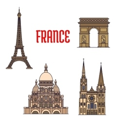 Architectural travel landmarks of France icon vector image vector image