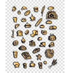 Bakery collection sketch for your design vector image vector image