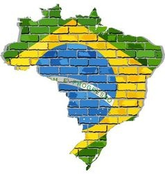 Brazil map on a brick wall vector image vector image