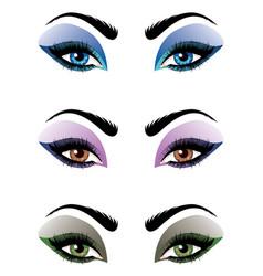 cartoon female eyes set vector image vector image