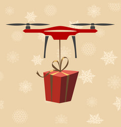 drone with gift modern delivery of gifts for vector image