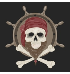 Image Pirate Skull with a beard vector image