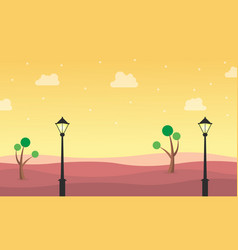 Landscape of hill with street lamp vector