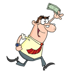 Lucky Businessman Running With Dollar In Hand vector image vector image