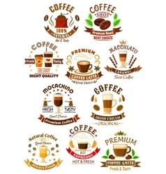 Premium quality coffee beverages symbols vector image vector image