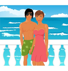 young couple on quay at the sea vector image