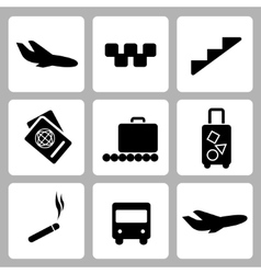 Airport black icon collection vector image