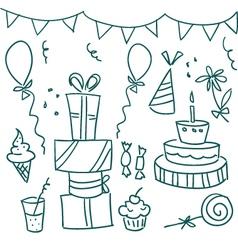 birthday sketches vector image