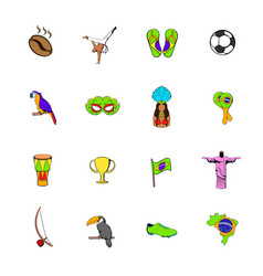 brazil icons set cartoon vector image