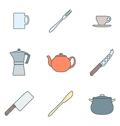 color outline dinnerware icons set vector image