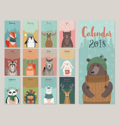 Cute monthly calendar with forest animals vector