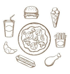 Fast food in sketch style vector image vector image