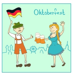 Man and girl with beer and the flag of Germany vector image