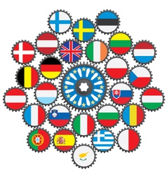 The work of the EU in the form of gears vector image vector image