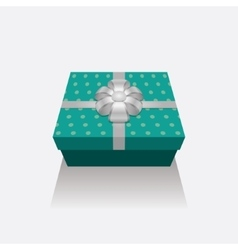 3D Gift Box Presents With Silver Ribbon Bow vector image