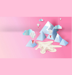 3d paper art and craft design of mountain view vector image