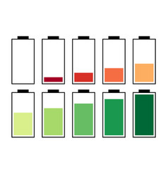 a set of ten batteries vector image