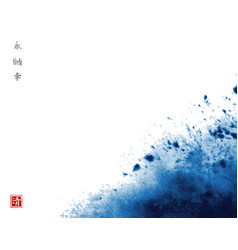Abstract blue ink wash painting in traditional vector