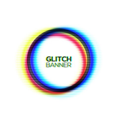 Abstract glitch texture circle frame vector