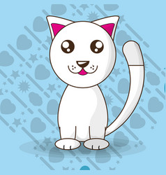 Adorable little cat with cute face vector