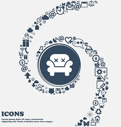 Armchair icon in the center Around the many vector image