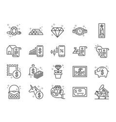Asset line icon set vector