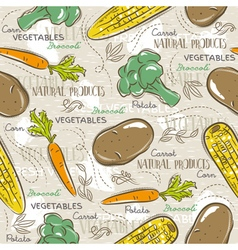 Background with broccoli corn and potato vector