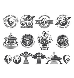 Badges set with ufo and aliens design vector