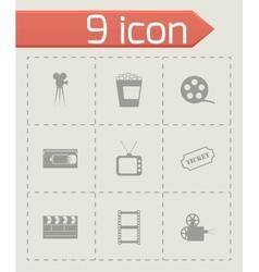 black cinema icons set vector image