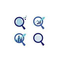 Blue magnifying logo symbol icon technology vector