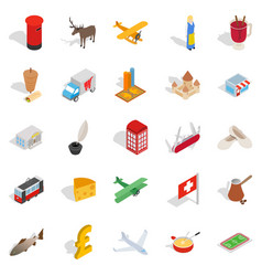 borderline icons set isometric style vector image
