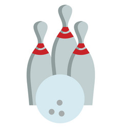 bowling ball and pins color vector image