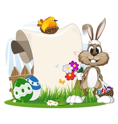 Bunny with flowers and Easter eggs vector image
