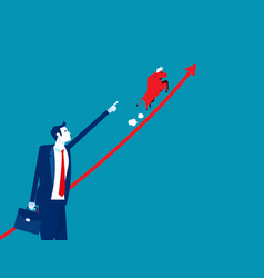 businessman point growing graph with bull running vector image