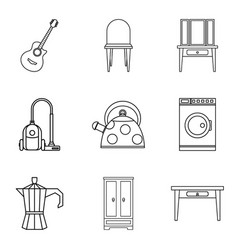 Camp site icons set outline style vector