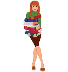 Cartoon young woman holding stack of books vector