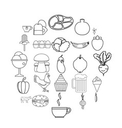 Chow icons set outline style vector