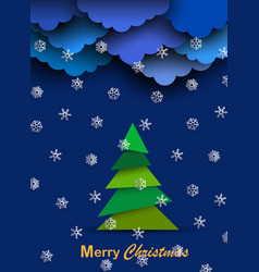 christmas card with paper clouds paper white vector image