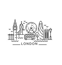 city london in outline style on white vector image