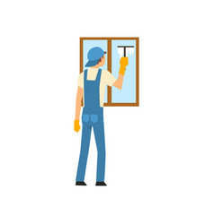 cleaning man washing window using squeegee male vector image