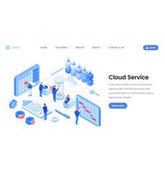 cloud service app website isometric template vector image