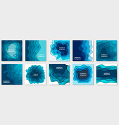 collection 10 backgrounds with blue paper cut vector image