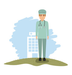 Color landscape with hospital of background with vector
